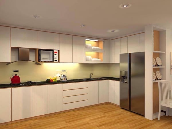 Không gian bếp tràn đầy ánh sáng với kính ốp bếp màu vàng nhạt