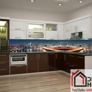 Kính ốp bếp 3D thành phố