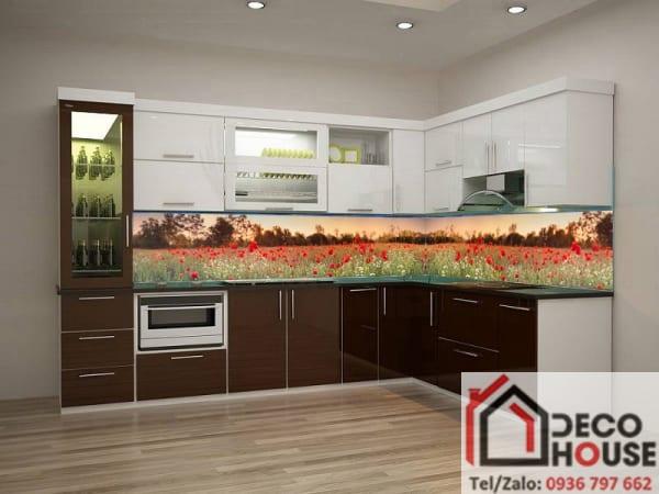 Tranh kính 3D ốp bếp hoa đẹp