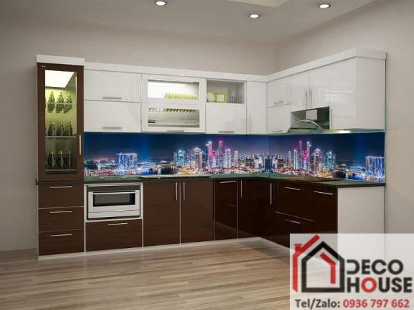 Tranh kính 3D ốp bếp thành phố