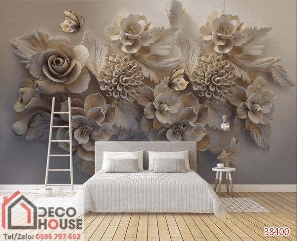Tranh 3D điêu khắc hoa đẹp