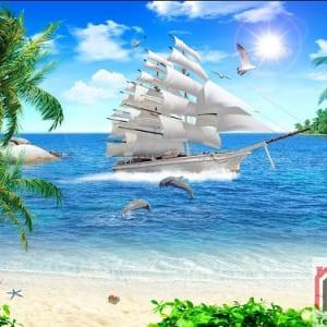 Tranh Kính 3D Phong Cảnh Biển