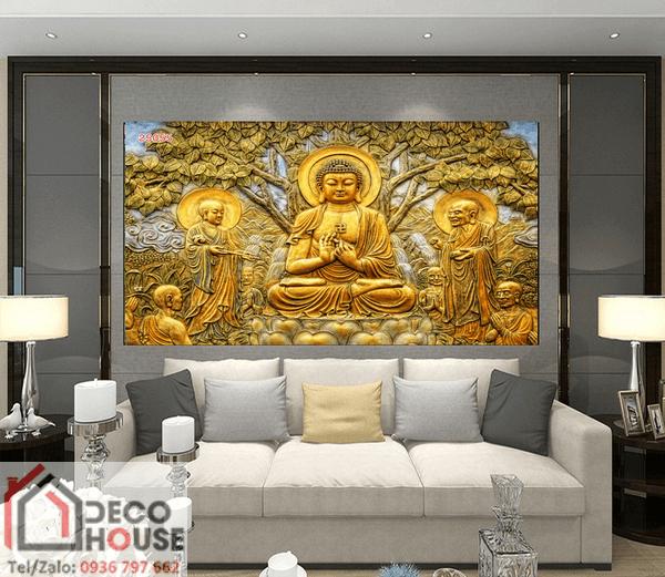 Tranh kính điêu khắc Phật đẹp