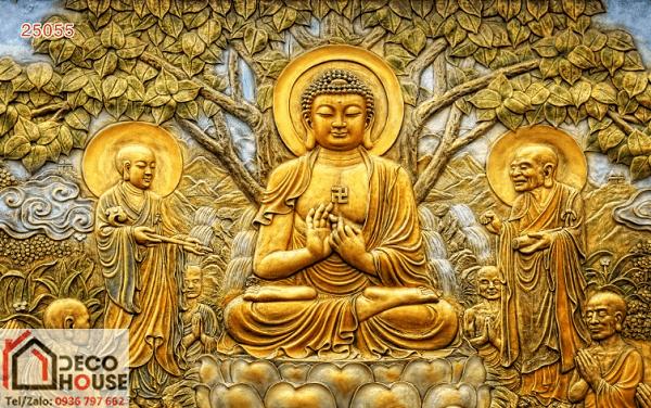 Tranh kính 3D Phật giáo chân thực treo tường không gian nhà