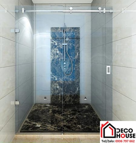 Vách kính phòng tắm cửa lùa đẹp