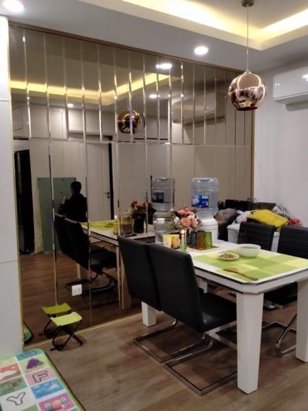 Gương ghép dán tường phòng ăn đẹp