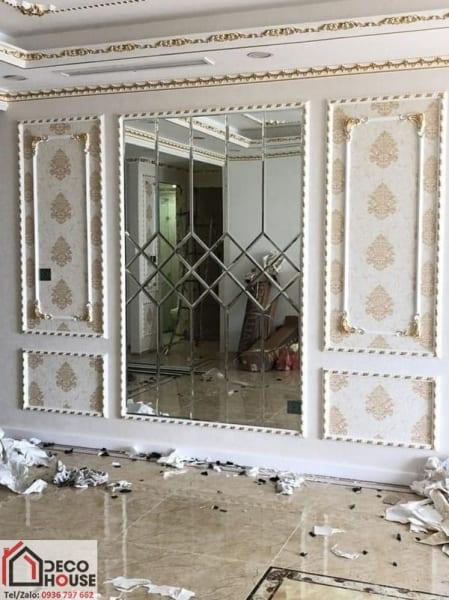 Gương ghép dán tường phòng khách giá rẻ