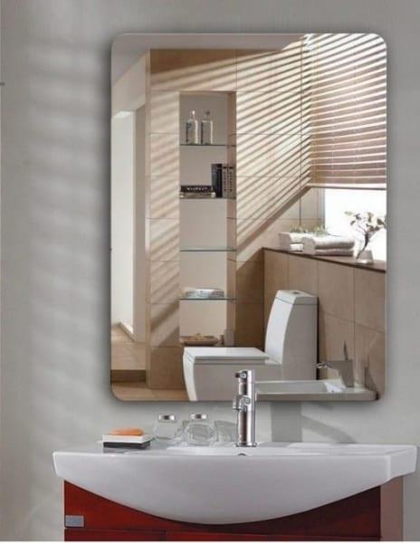Gương soi nhà tắm bo góc màu đồng hình chữ nhật