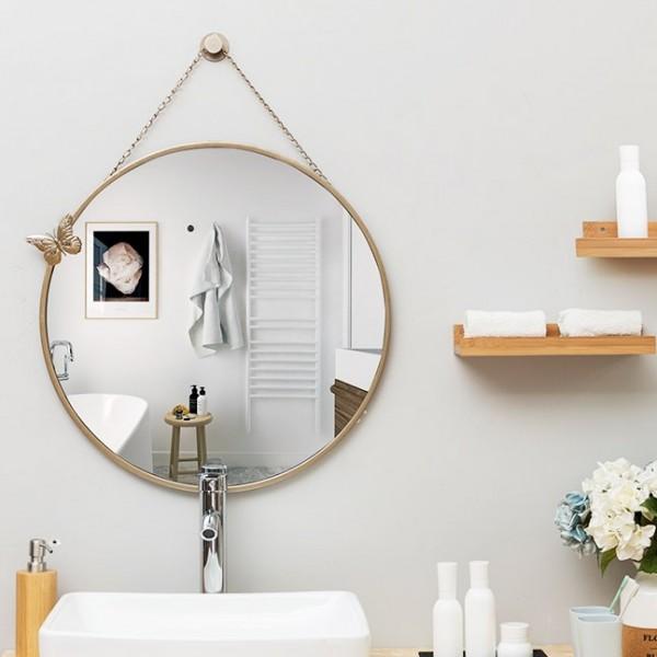 Mẫu gương nhà tắm cao cấp hình tròn treo dây