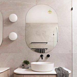 Gương soi trang trí phòng tắm hình Oval